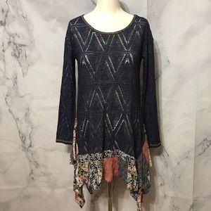 Boho Knit Tunic Dress With Patchwork Hem By ODDY